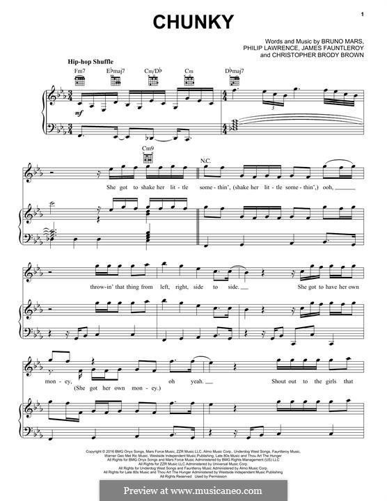 Chunky: Für Stimme und Klavier (oder Gitarre) by James Fauntleroy II, Bruno Mars, Philip Lawrence, Christopher Brody Brown