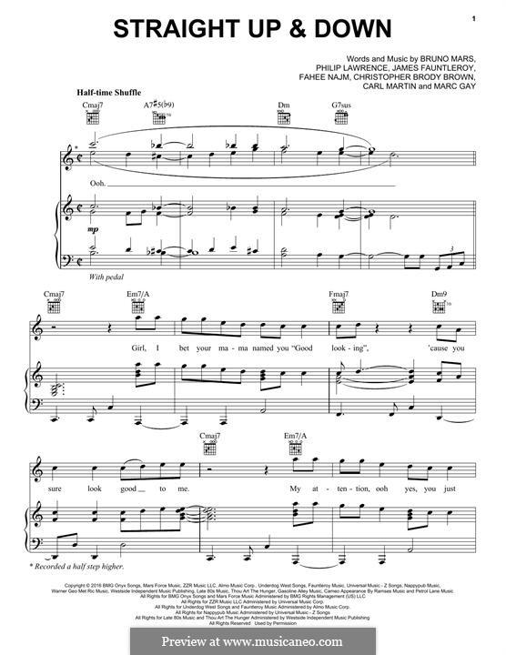 Straight Up & Down: Für Stimme und Klavier (oder Gitarre) by T-Pain, James Fauntleroy II, Bruno Mars, Philip Lawrence, Carl Martin, Christopher Brody Brown, Marc Gay
