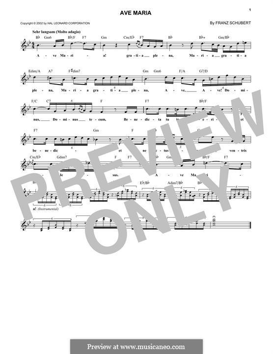Ave Maria (Printable Scores), D.839 Op.52 No.6: Melodische Linie by Franz Schubert