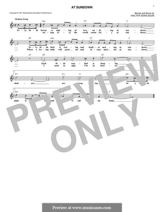 At Sundown: Melodische Linie by Walter Donaldson