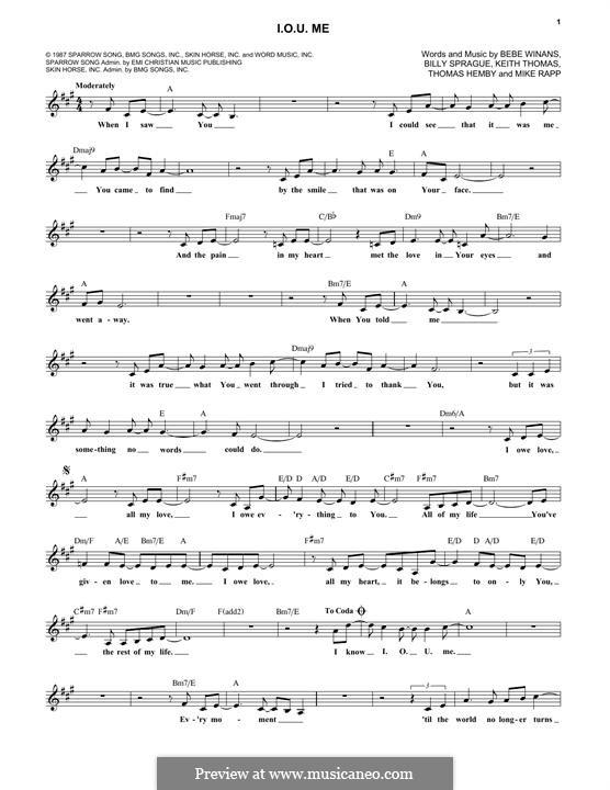 I.O.U. Me (BeBe and CeCe Winans): Melodische Linie by BeBe Winans, Keith Thomas, Billy Sprague