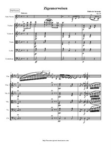 Zigeunerweisen, Op.20: For violin and string orchestra version - score and parts by Pablo de Sarasate