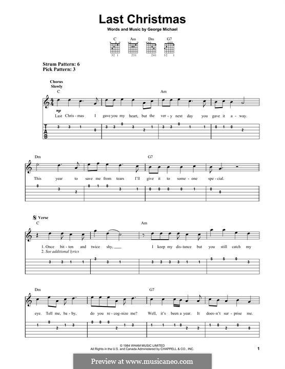 Last Christmas (Wham!): Für Gitarre mit Tabulatur by George Michael