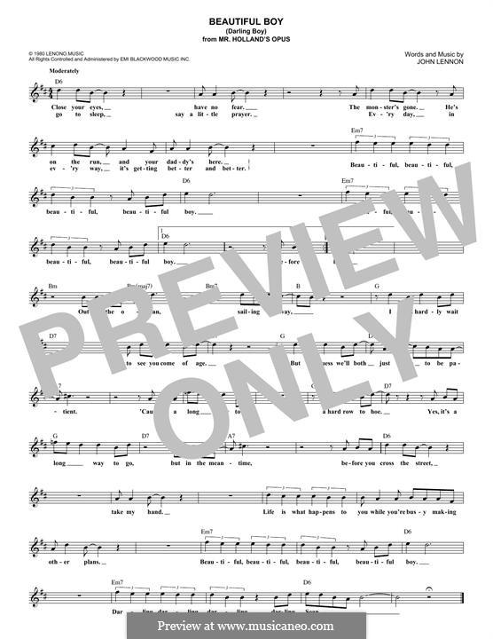 Beautiful Boy (Darling Boy): Melodische Linie by John Lennon