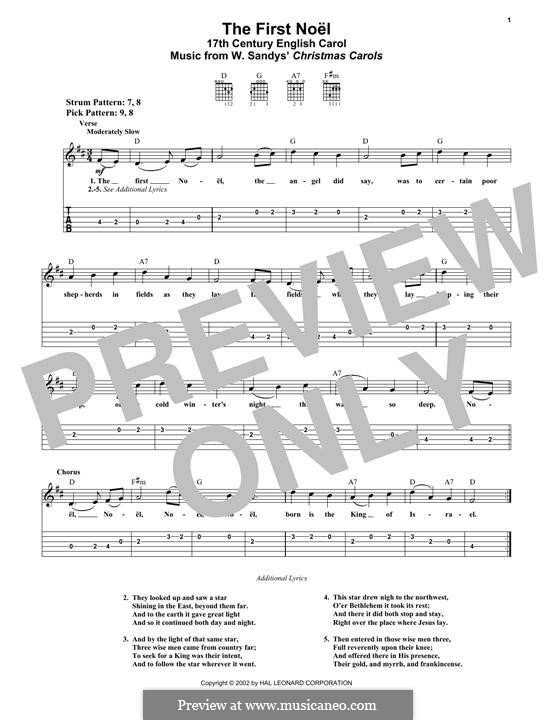 The First Nowell (The First Noël), Printable scores: Für Gitarre mit Tabulatur by folklore