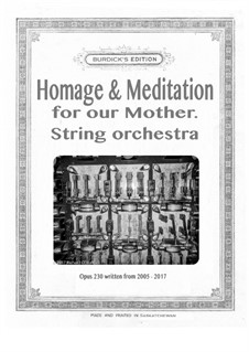 Homage & Meditation for our Mother for string orchestra, Op.230: Homage & Meditation for our Mother for string orchestra by Richard Burdick
