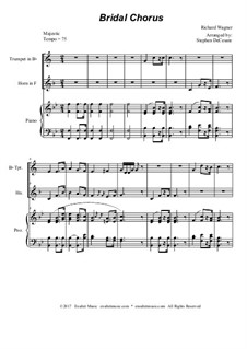 Brautlied: Duet for Bb-trumpet and french horn - piano accompaniment by Richard Wagner