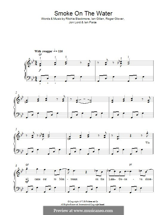 Smoke on the Water (Deep Purple): Für Klavier by Ian Gillan, Ian Paice, Jon Lord, Ritchie Blackmore, Roger Glover