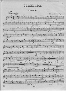 Ständchen Nr.1 in D-Dur, Op.11: Hornstimme I by Johannes Brahms
