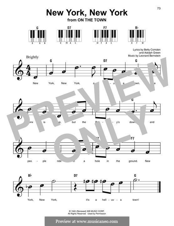 New York, New York (Frank Sinatra): Melodische Linie by Leonard Bernstein