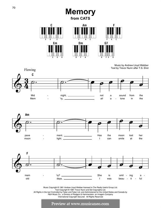 Memory (from Cats): Melodische Linie by Andrew Lloyd Webber