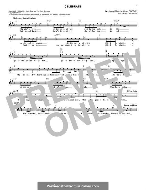 Celebrate (Three Dog Night): Melodische Linie by Alan Gordon, Garry Bonner