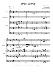Brautlied: Duet for flute and Bb-clarinet - organ accompaniment by Richard Wagner