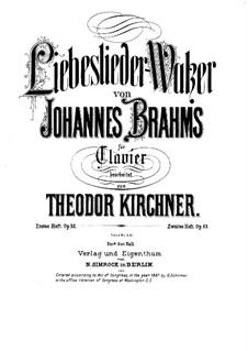 Liebeslieder-Waltzer und Neue Liebeslieder, Op.52a, 65a: Liebeslieder-Waltzer und Neue Liebeslieder by Johannes Brahms