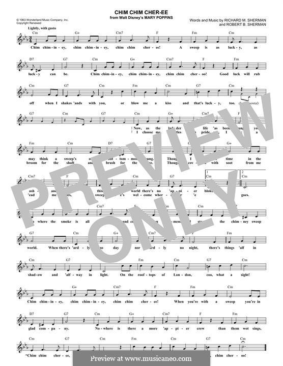 Chim Chim Cher-ee (from Mary Poppins): Melodische Linie by Richard M. Sherman, Robert B. Sherman