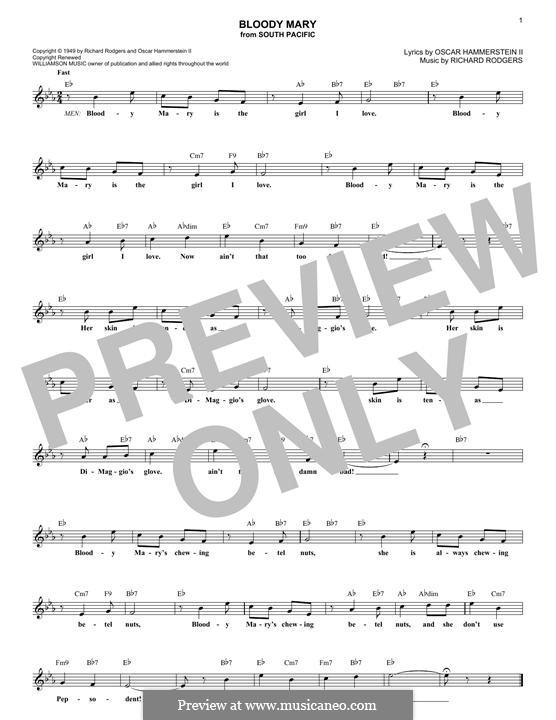 Bloody Mary (from South Pacific): Melodische Linie by Richard Rodgers