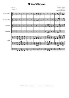 Brautlied: For brass quartet - organ accompaniment by Richard Wagner