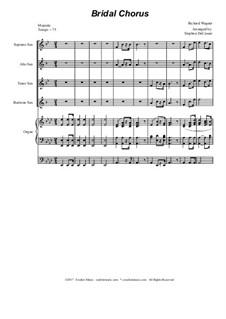 Brautlied: For saxophone quartet - organ accompaniment by Richard Wagner