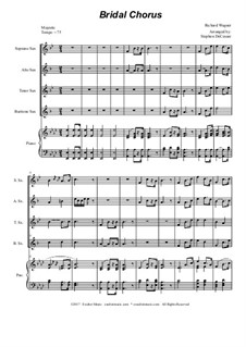 Brautlied: For saxophone quartet - piano accompaniment by Richard Wagner