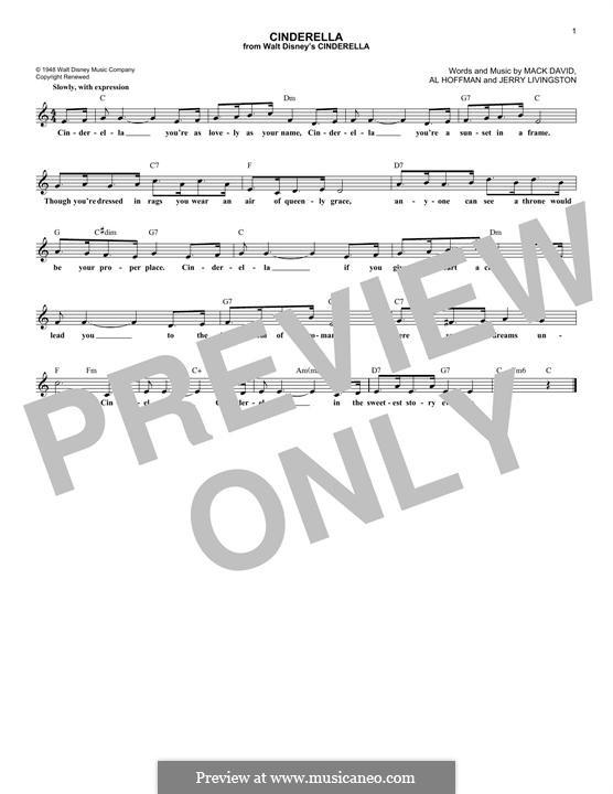 Cinderella: Melodische Linie by Al Hoffman, Jerry Livingston, Mack David