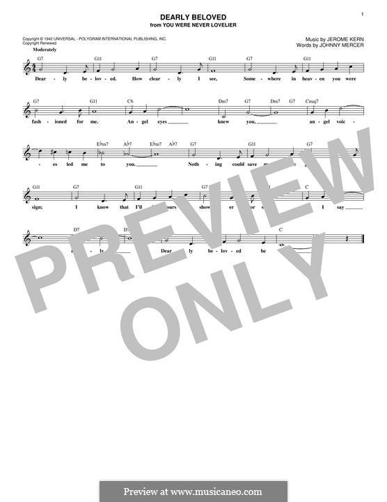 Dearly Beloved: Melodische Linie by Jerome Kern