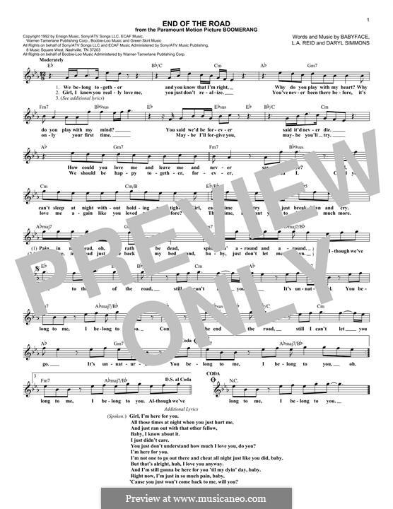 End of the Roads (Boyz II Men): Melodische Linie by L.A. Reid, Daryl Simmons, Kenneth 'Babyface' Edmonds