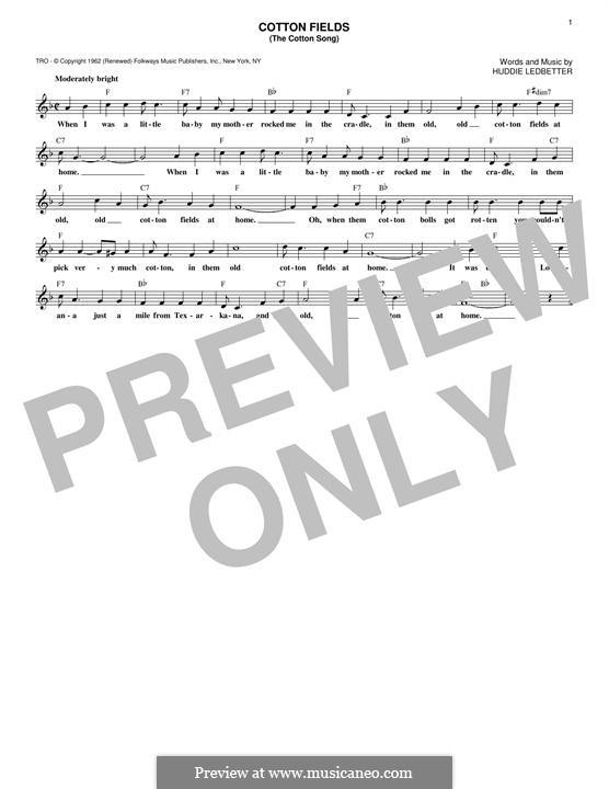 Cotton Fields (The Cotton Song): Melodische Linie by Huddie Ledbetter