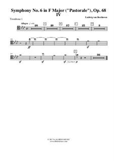 Teil IV. Gewitter, Sturm: Trombone in Tenor Clef 1 (transposed part) by Ludwig van Beethoven