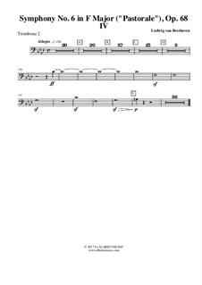 Teil IV. Gewitter, Sturm: Trombone in Bass Clef 2 (transposed part) by Ludwig van Beethoven