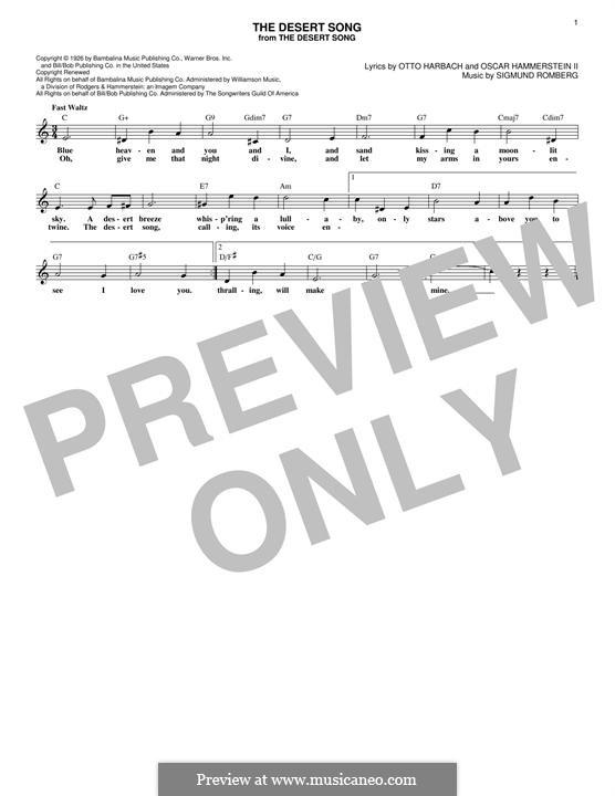 The Desert Song: Melodische Linie by Sigmund Romberg