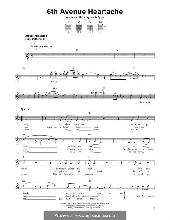 6th Avenue Heartache: Für Gitarre mit Tabulatur by Jakob Dylan