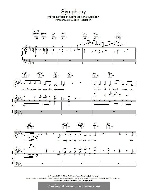 Symphony (Clean Bandit): Für Stimme und Klavier (oder Gitarre) by Ammar Malik, Ina Wroldsen, Steve Mac, Jack Patterson