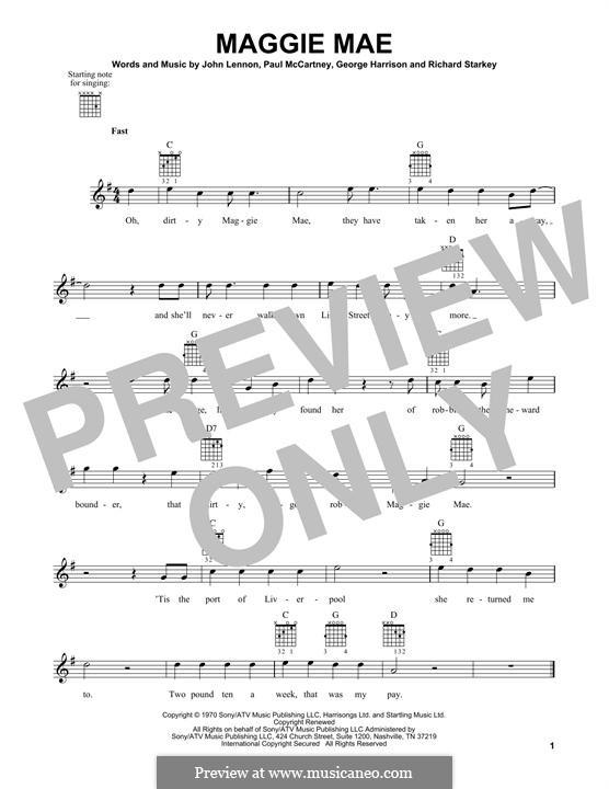 Maggie Mae (The Beatles): Für Gitarre mit Tabulatur by George Harrison, John Lennon, Paul McCartney, Richard Starkey
