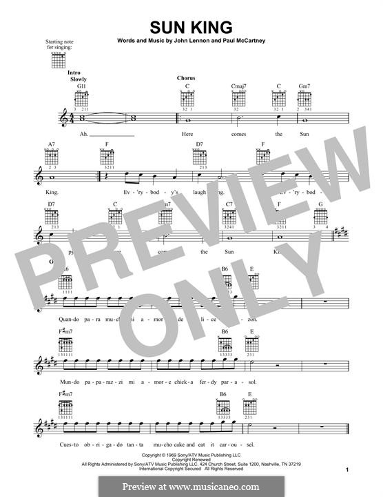 Sun King (The Beatles): Für Gitarre mit Tabulatur by John Lennon, Paul McCartney
