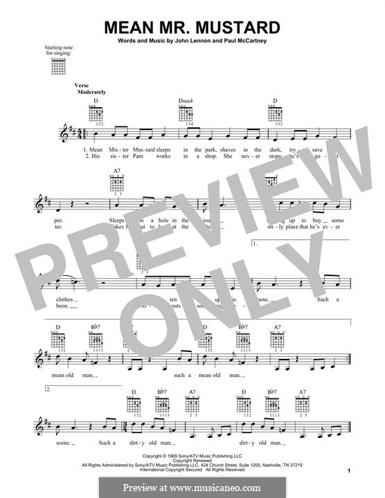 Mean Mr. Mustard (The Beatles): Für Gitarre mit Tabulatur by John Lennon, Paul McCartney