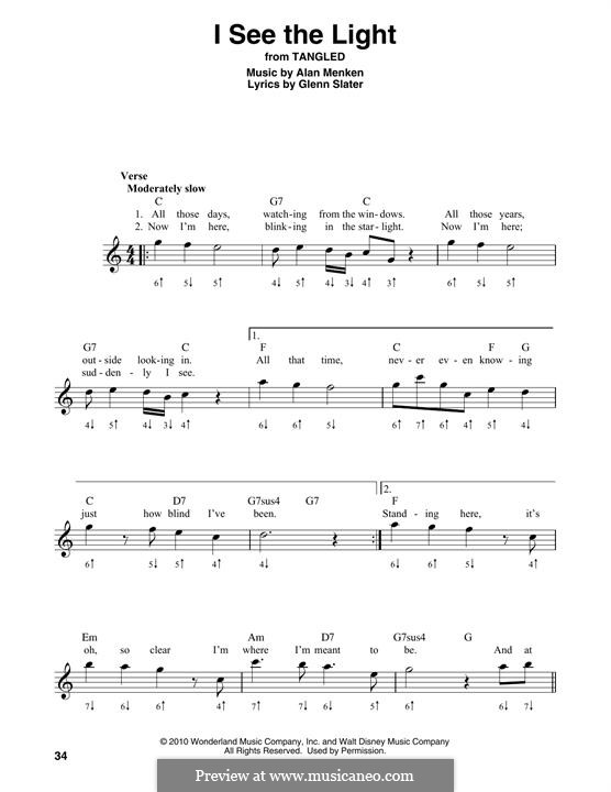 I See the Light: For harmonica by Alan Menken