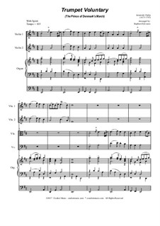 Prince of Denmark's March: For string quartet - organ accompaniment by Jeremiah Clarke
