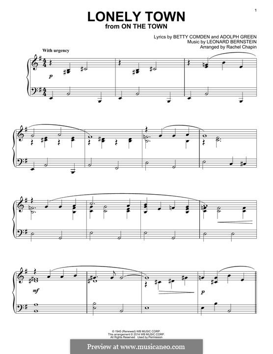 Lonely Town (from On the Town): Für Klavier by Leonard Bernstein