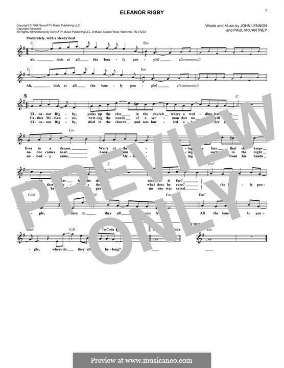Eleanor Rigby (The Beatles): Melodische Linie by John Lennon, Paul McCartney
