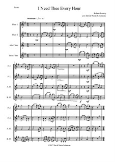 I Need Thee Every Hour: Variations, for flute quartet (2 C flutes, alto flute, bass flute) by Robert Lowry