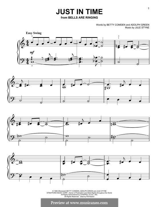 Just in Time (Frank Sinatra): Für Klavier by Jule Styne
