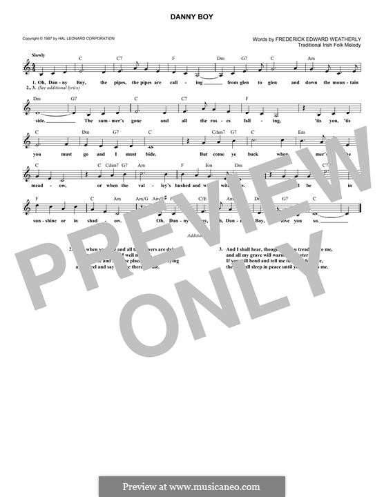 Danny Boy (Londonderry Air) Printable Scores: Melody line and lyrics by folklore