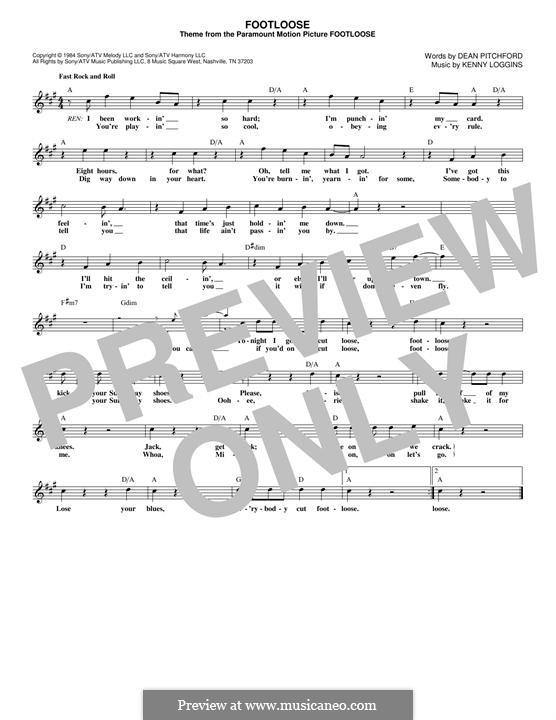 Footloose: Melodische Linie by Kenny Loggins
