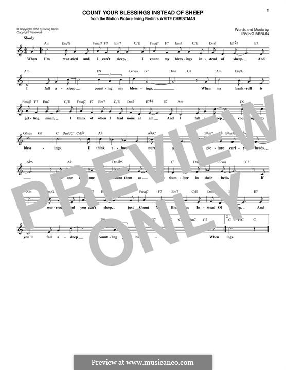 Count Your Blessings Instead of Sheep: Melodische Linie by Irving Berlin