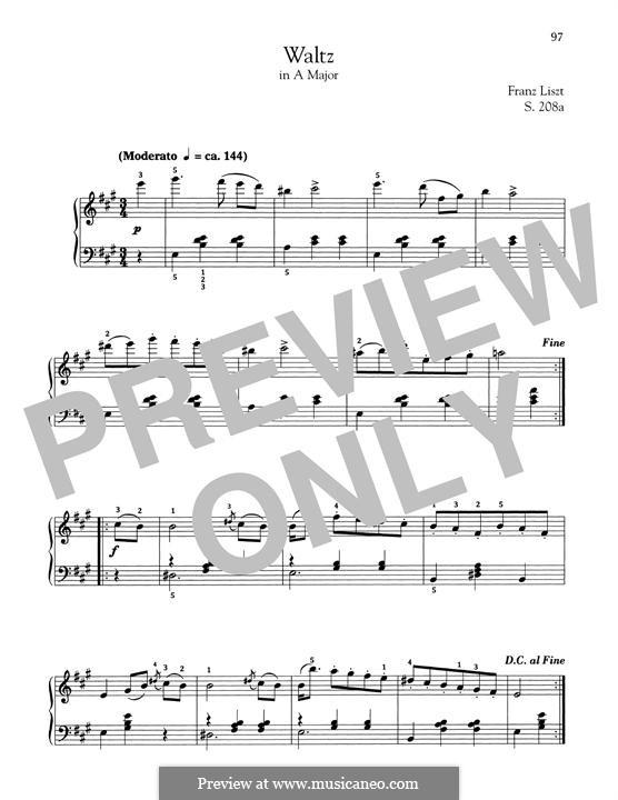 Walzer in A-Dur, S.208a: Für Klavier by Franz Liszt