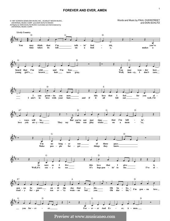Forever and Ever, Amen (Randy Travis): Melodische Linie by Don Schlitz, Paul Overstreet