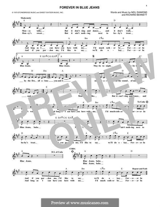 Forever in Blue Jeans: Melodische Linie by Richard Bennett