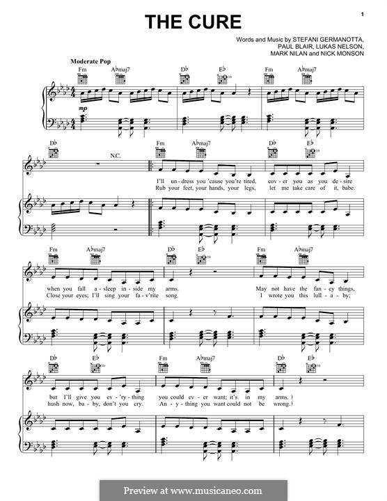 The Cure (Lady Gaga): Für Stimme und Klavier (oder Gitarre) by Paul Blair, Stefani Germanotta, Nick Monson, Lukas Nelson, Mark Nilan