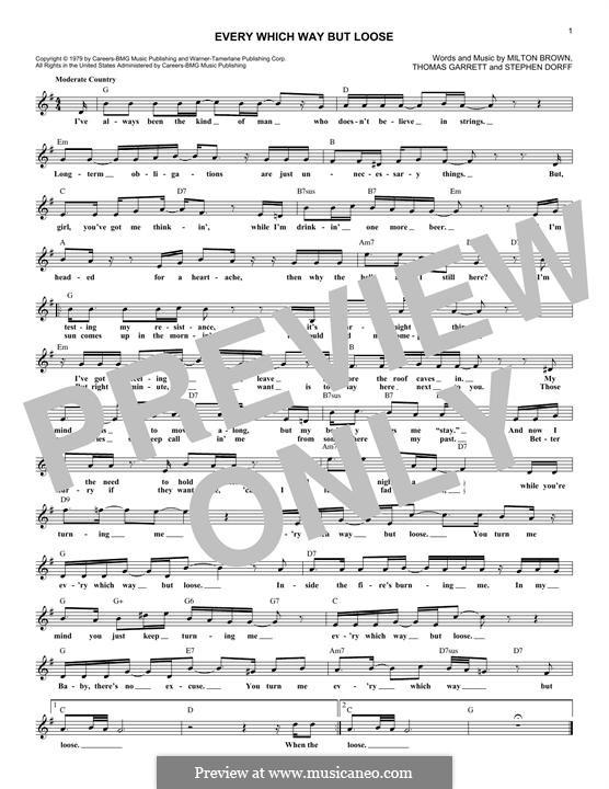 Every Which Way But Loose (Eddie Rabbitt): Melodische Linie by Milton Brown, Stephen H. Dorff, Thomas Garrett