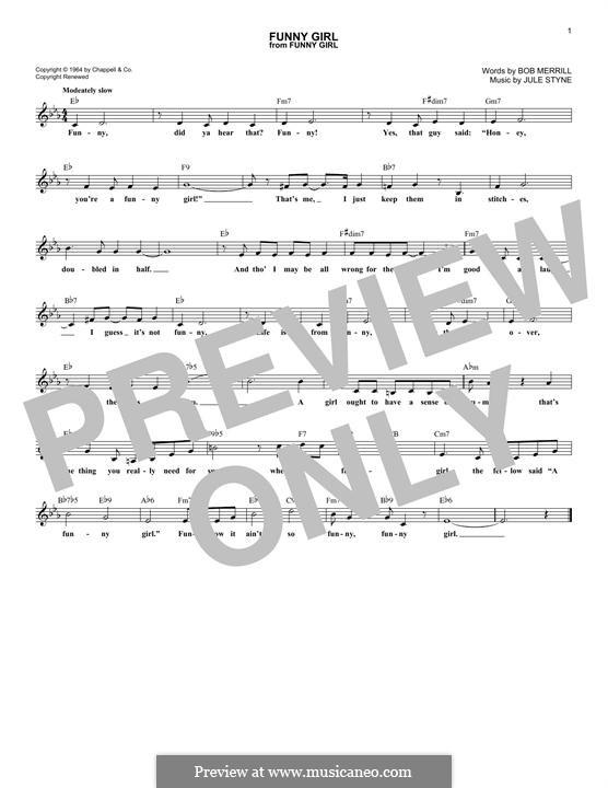Funny Girl (Barbra Streisand): Melodische Linie by Jule Styne
